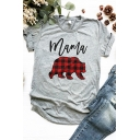 Womens Casual Plaid Bear Pattern MAMA Letter Printed Short Sleeve Loose Fit Tee