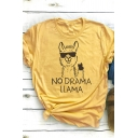 Yellow NO DRAMA LLAMA Letter Cartoon Animal Print Short Sleeve Oversized Loose Tee