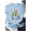 Cute Bee Flower KIND Letter Printed Rolled Short Sleeve Loose Casual Summer T-Shirt