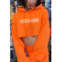 Orange Popular Letter ROCK MORE Printed Long Sleeve Cropped Drawstring Hoodie
