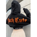 Girls Fashionable SUCH CUTE Printed Back Long  Sleeve Letter Tape Trim Black Cropped Hoodie