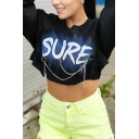 Creative Letter SURE Printed Long Sleeve Round Neck Chain Decoration Black Cropped Sweatshirt