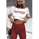 New Trendy POWER OF GIRLS NEW YORK Letter Printed Off the Shoulder Long Sleeve White Crop Sweatshirt