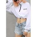 White Letter SUCH CUTE Printed Eyelet Embellished Long Sleeve Drawstring Hem Half Zipper Sweatshirt