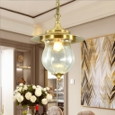 Bubble Glass Urn Ceiling Hanging Light Colonial 1 Light Pendant Lighting in Gold for Living Room