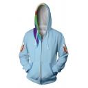 Cute Wing 3D Rainbow Stripe Printed Long Sleeve Zip Up Casual Loose Hoodie