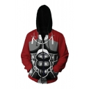 Mens Awesome 3D Print Long Sleeve Zip Up Casual Cosplay Hoodie