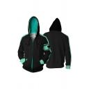 New Arrival 3D Cool Colorblock Long Sleeve Casual Full Zip Cosplay Hoodie