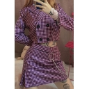 Womens Stylish Plaid Pattern Long Sleeve Double Breasted Slim Fit Crop Blazer