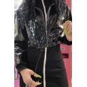 Womens Chic Black Metallic PU Leather Long Sleeve Drawstring Hem Cropped Hooded Jacket Coat