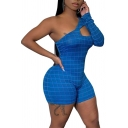 Womens Sexy Plain Grid Pattern One Shoulder Long Sleeve Cutout Front Bodycon Rompers