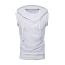 Mens Casual Plain Sheer Mesh Patch Sleeveless Drawstring Hoodie Vest
