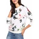 Womens Regular Round Neck Long Sleeve Floral Print Fashionable Pullover Sweatshirt