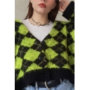 Womens Stylish Black and Green Argyle Printed Long Sleeve Button Fly Loose Plush Knitwear Cardigan Coat