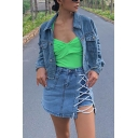 Womens Stylish Streetwear Lapel Collar Long Sleeve Ripped Destroyed Detail Cropped Blue Denim Jacket