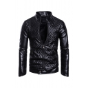 Mens Fashionable Plain Long Sleeve Stand Collar Zip Up PU Leather Fitted Quilted Jacket