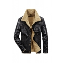 Mens Fashionable Black PU Leather Long Sleeve Single Breasted Faux Fur Lined Casual Jacket