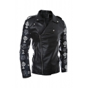 Cool Pattern Panelled Long Sleeve Notched Inclined Zip Black Fitted PU Leather Jacket