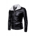 Mens Classic Sherpa Lined Lapel Collar Long Sleeve Zip Up PU Leather Jacket with Pocket