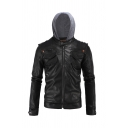 Mens Stylish Colorblock Panel Hood Long Sleeve Zip Up Black Fitted PU Leather Short Casual Jacket