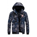 Mens Warm Royal Blue Camouflage Letter Ribbon Embellished Long Sleeve Detachable Hood Zip Closure Leisure Down Coat