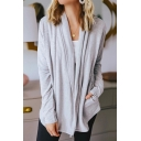Ladies Fashion Shawl Collar Long Sleeve Open Front Light Gray Knitted Cardigan Coat