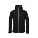 Mens Fashionable Contrast Zip Closure Long Sleeve Outdoor Camping Jacket Windbreaker with Hood