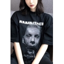 Unique Streetwear Letter Printed Short Sleeves Crewneck Black Oversided Cool Graphic T-Shirt