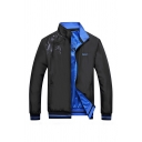 Mens Sportive Geo MUPUSEN Letter Printed Long Sleeve Zip Up Black & Blue Reversible Jacket Coat