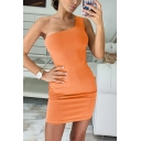 Womens Simple Solid Color One Shoulder Sexy Mini Bodycon Dress