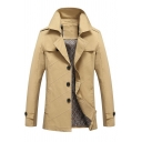 Womens Fashionable Plain Long Sleeve Notched Collar Single Breasted Regular Trench Coat