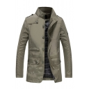 Mens Stylish Stand Up Collar Long Sleeve Single Breasted Flap Pocket Army Green Casual Tunic Jacket Trench Coat