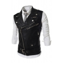Mens Fashionable Plain Studded Notched Lapel Sleeveless Oblique Zip Slim Fit PU Leather Belted Vest