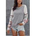 Embroidery Floral Long Sleeve Keyhole Back Round Neck Loose Pullover Sweatshirt Top