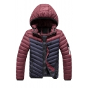 Mens Popular Color Block Long Sleeve Letter Ribbon Decorated Zip Closure Slim Fit Hooded Down Jacket