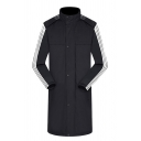Mens Classic Striped Long Sleeve Stand Collar Zip Up Longline Outdoor Down Parka Coat with Hood
