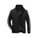 Mens Classic Stripe Long Sleeve Stand Collar Zip Placket Slim Fit Casual Black Outdoor Track Jacket
