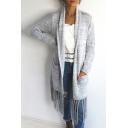 Womens Stylish Plain Long Sleeve Fringe Hem Longline Open Cardigan Knitted Coat with Pocket
