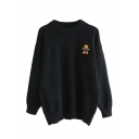 Girls Cute Embroidered Bear Pattern Long Sleeve Chest Pocket Loose Pullover Sweater