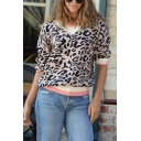Womens Stylish Contrast Trim V-Neck Leopard Printed Long Sleeve Regular Knitted Pullover Sweater