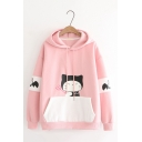 Girls Lovely Devil Cartoon Printed Long Sleeve Colorblocked Kangaroo Pocket Loose Fit Drawstring Hoodie