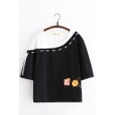 Girls Lovely Cartoon Printed Side Lace-Up Color Block Oversized Casual T-Shirt