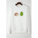 Womens Casual Hedgehog and Cactus Pattern Long Sleeve Pullover Sweatshirt