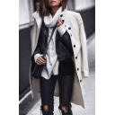 Womens Elegant Plain White Long Sleeve Stand Collar Single Breasted Longline Wool Coat