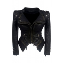 Womens Cool Rivet Embellished Long Sleeve Double Zip Placket Slim Fit Cropped PU Biker Jacket