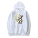 Unisex Glitter Moon Cat Print Long Sleeve Pouch Pocket White Boxy Casual Hoodie
