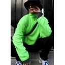 Fashion Stand Up Collar Long Sleeve Half Zip Plain Green Lamb Fur Loose Pullover Sweatshirt