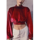 Womens Elegant Solid Color High Collar Long Sleeve Velvet Cropped Sweatshirt
