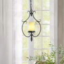 Etched Beige Glass Pendant Lighting Countryside 1 Light Pendant Fixture with Metal Cage in Antique Black Finish