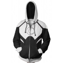 3D Moon Pattern Long Sleeve Zip Up Casual Drawstring Hoodie with Pocket